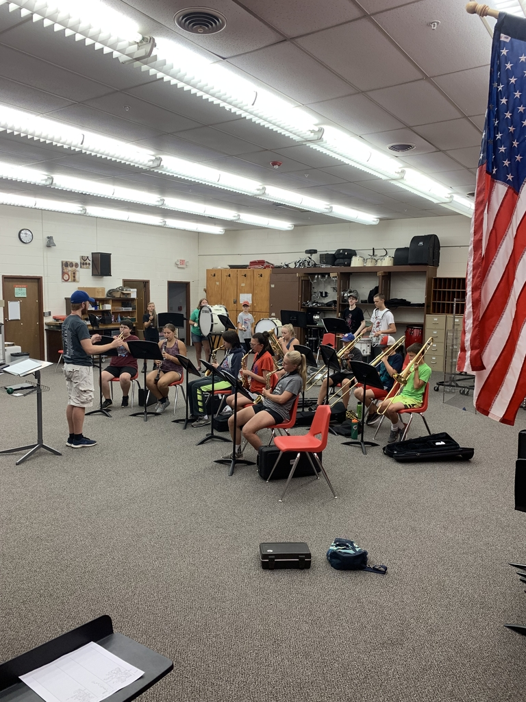 Mr. Stech is our new High School music instructor working with students for Valley County Fair.  Reminder that 7-12 band camp is being held Thursday and Friday as well from 9-12am in the high school band room.